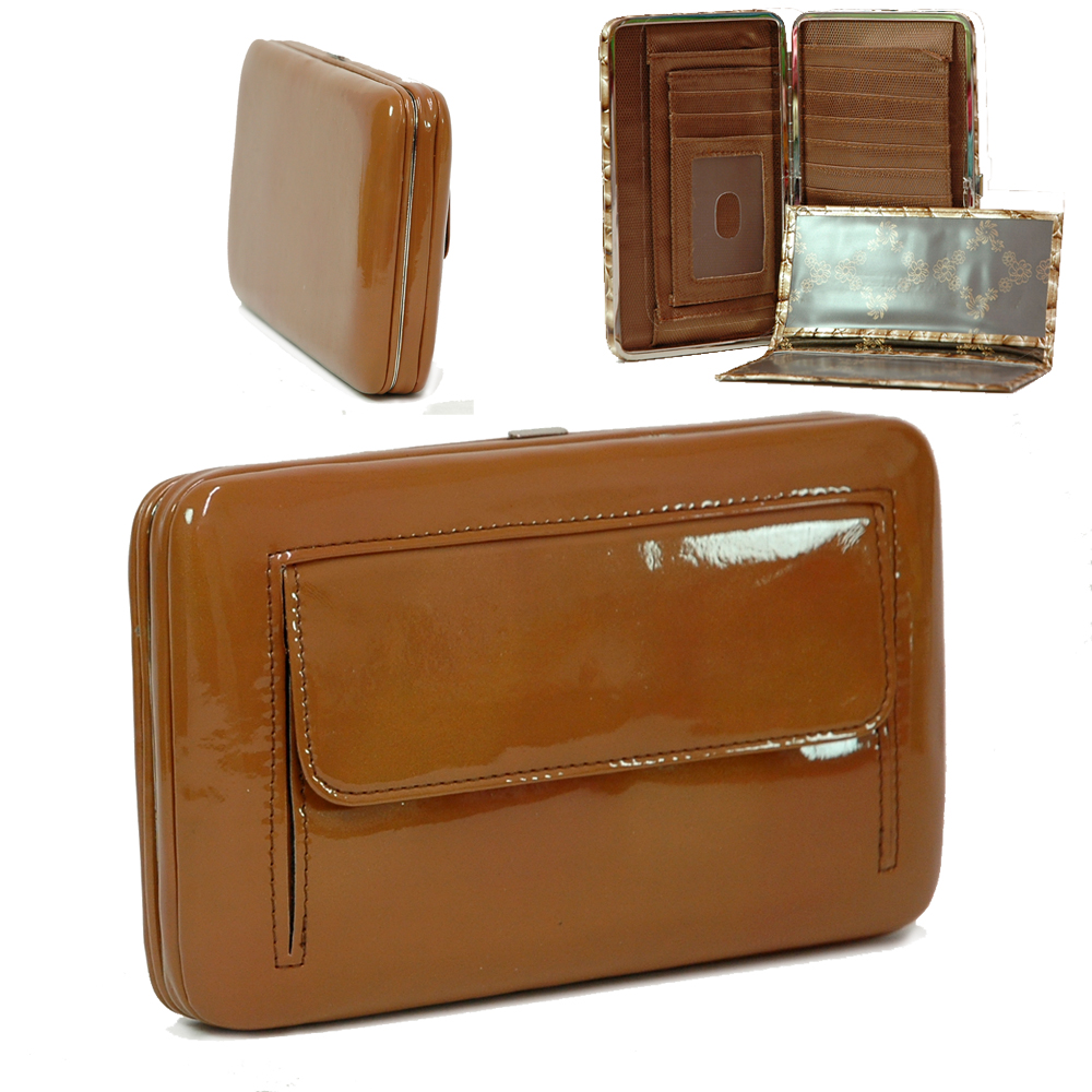 Country Road Shiny Extra Deep Metal Frame Wallet - Brown