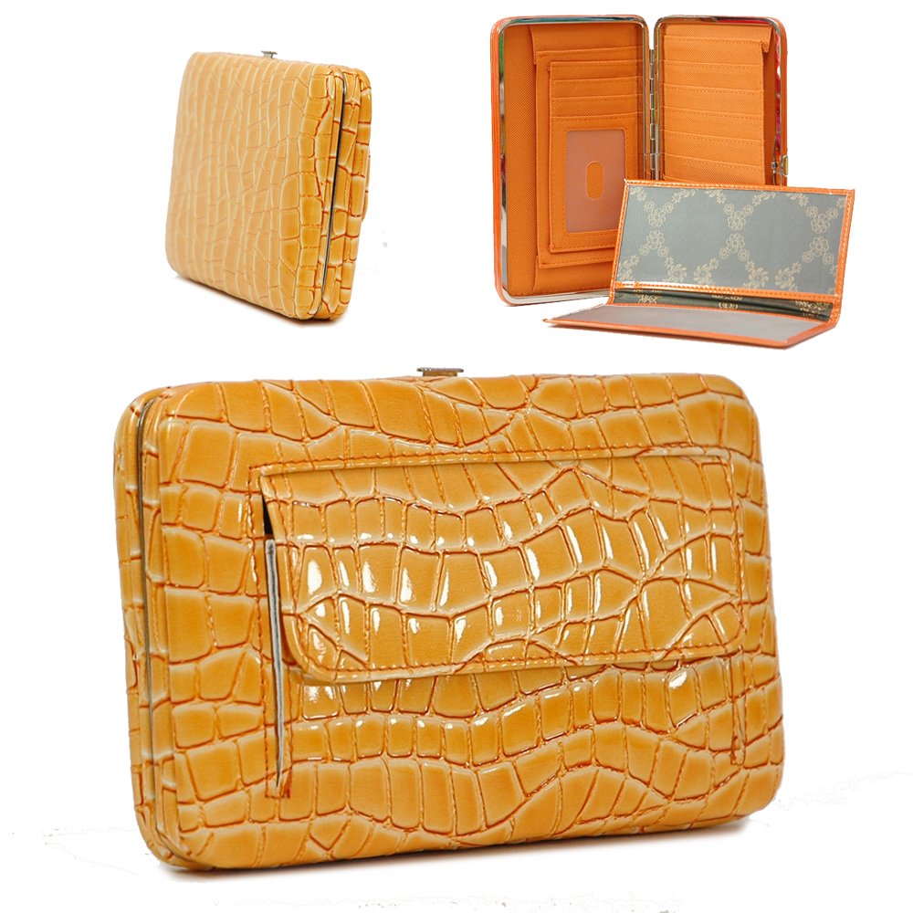 Extra deep alligator embossed frame wallet