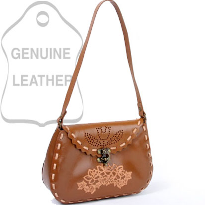 Dasein Rose Accented Rippled Edged Western Shoulder Bag - Tan