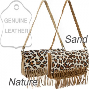 Genuine suede leather shoulder bag with leopard print flap & tassel accents