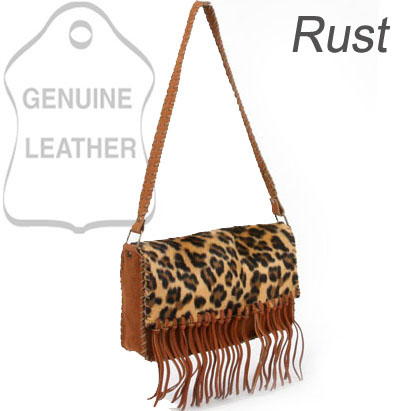 Dasein Genuine Suede Leather Shoulder Bag With Leopard Print Flap & Tassel Accents - Rust