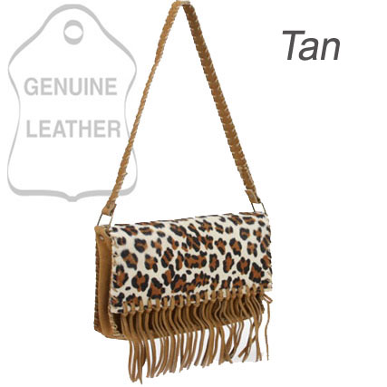 Dasein Genuine Suede Leather Shoulder Bag With Leopard Print Flap & Tassel Accents - Tan