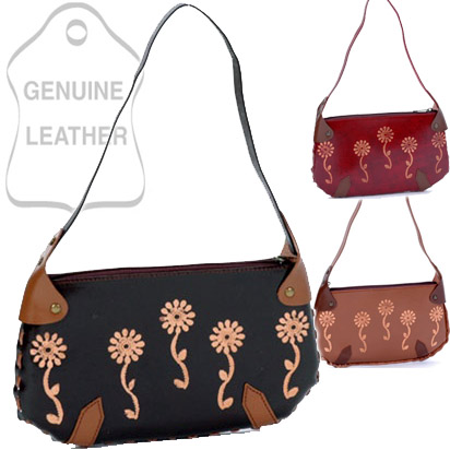 Dasein Elegant Embossing Flower Printed Genuine Leather Handbag - Black