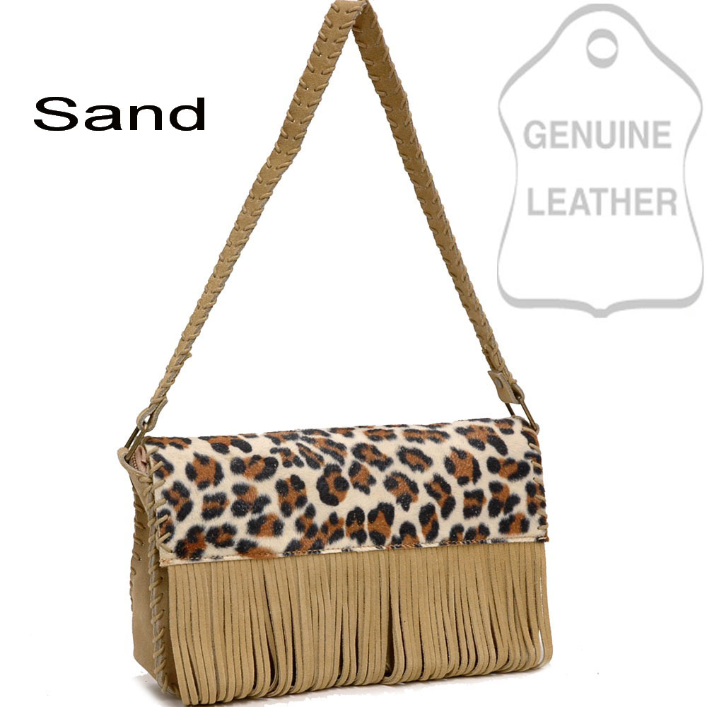 Dasein Leopard Print Genuine Suede Leather Flip Flap Accented Handbag - Sand