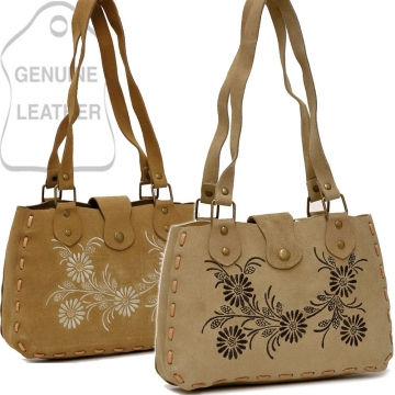 Dasein Genuine Suede Leather Handbag