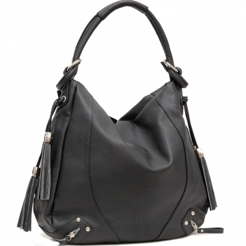 Dasein Designer Inspired Tassel Accented Hobo Bag-Black