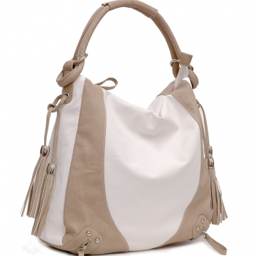 Dasein Designer Inspired Tassel Accented Hobo Bag-White / Tan