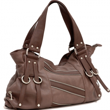Dasein Zipper Decorative Shoulder Bag-Brown