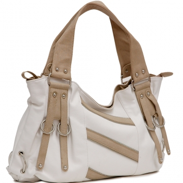 Dasein Zipper Decorative Shoulder Bag-White / Tan