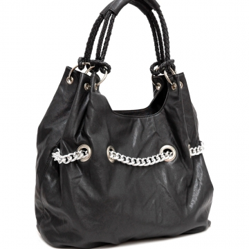 Metal chain accented hobo bag
