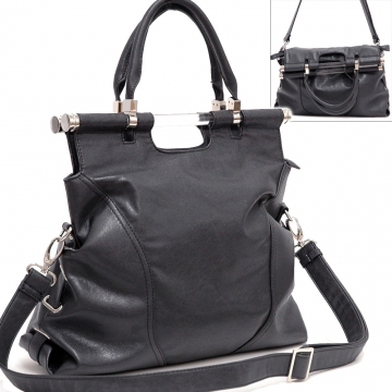 Tall foldable satchel handbag