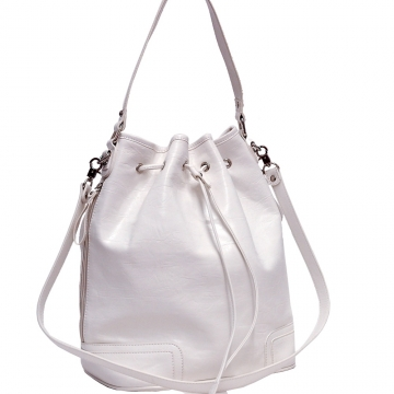 Tall Two-Tone Designer Inspired Drawstring Hobo Handbag