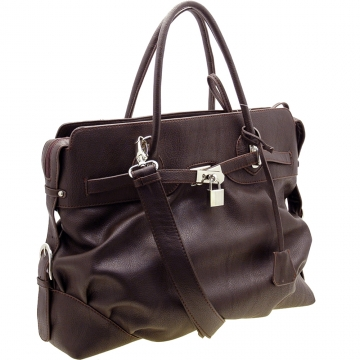 Dasein Designer Inspired Lock Style Satchel Bag with Shoulder Strap-Brown
