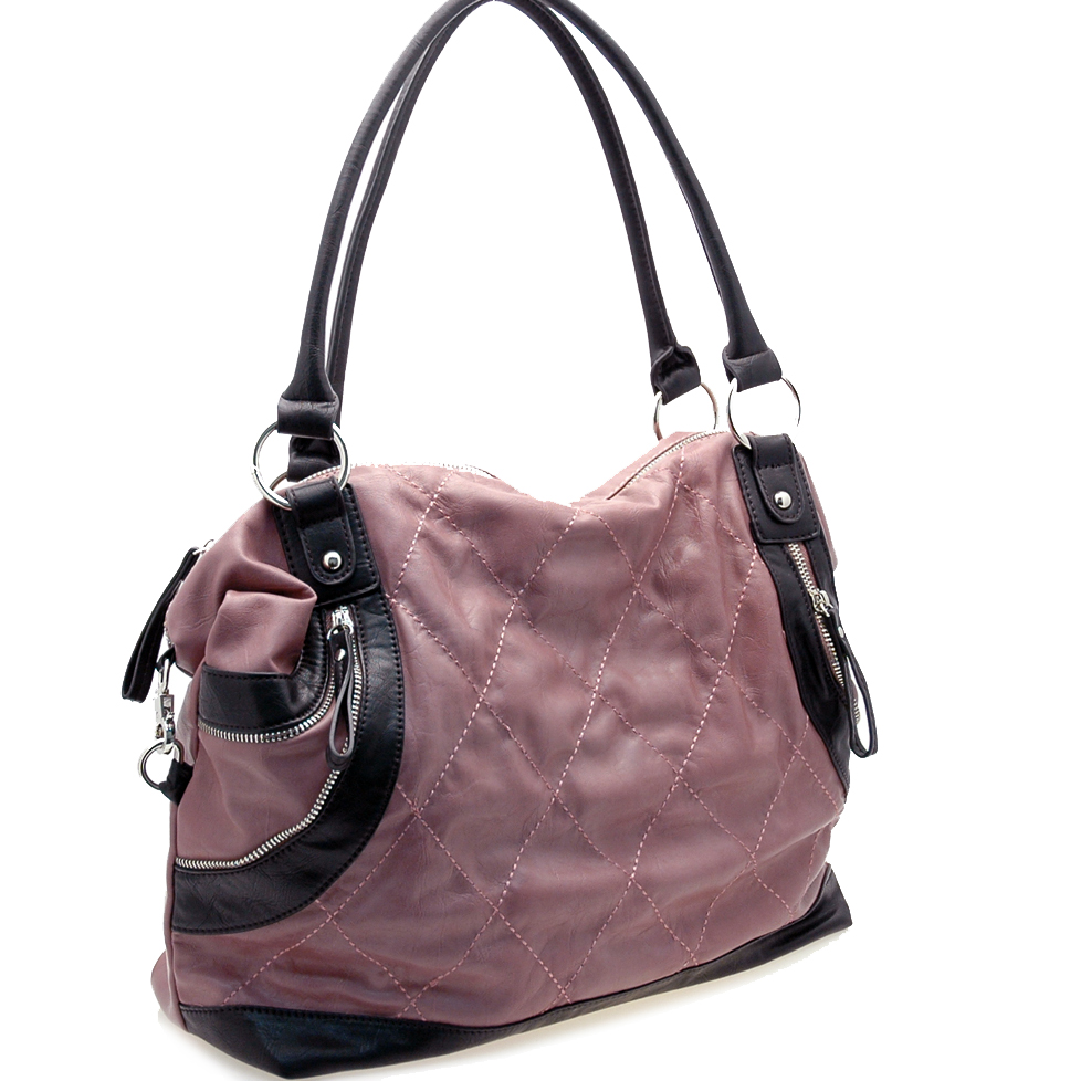 Stitched grid front shoulder bag
