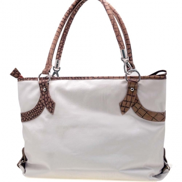 Two-Tone End Pocket Tote Handbag