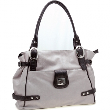Soft Two-Tone Front Pocket Tote Handbag