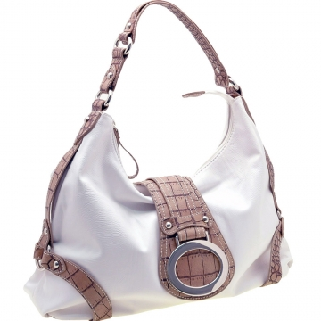 Two-Tone Croco trimed front flap hobo Bag