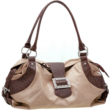 Dasein Two-Tone Shoulder Bag with Front Buckle-Beige