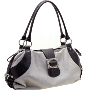 Dasein Two-Tone Shoulder Bag with Front Buckle-Grey