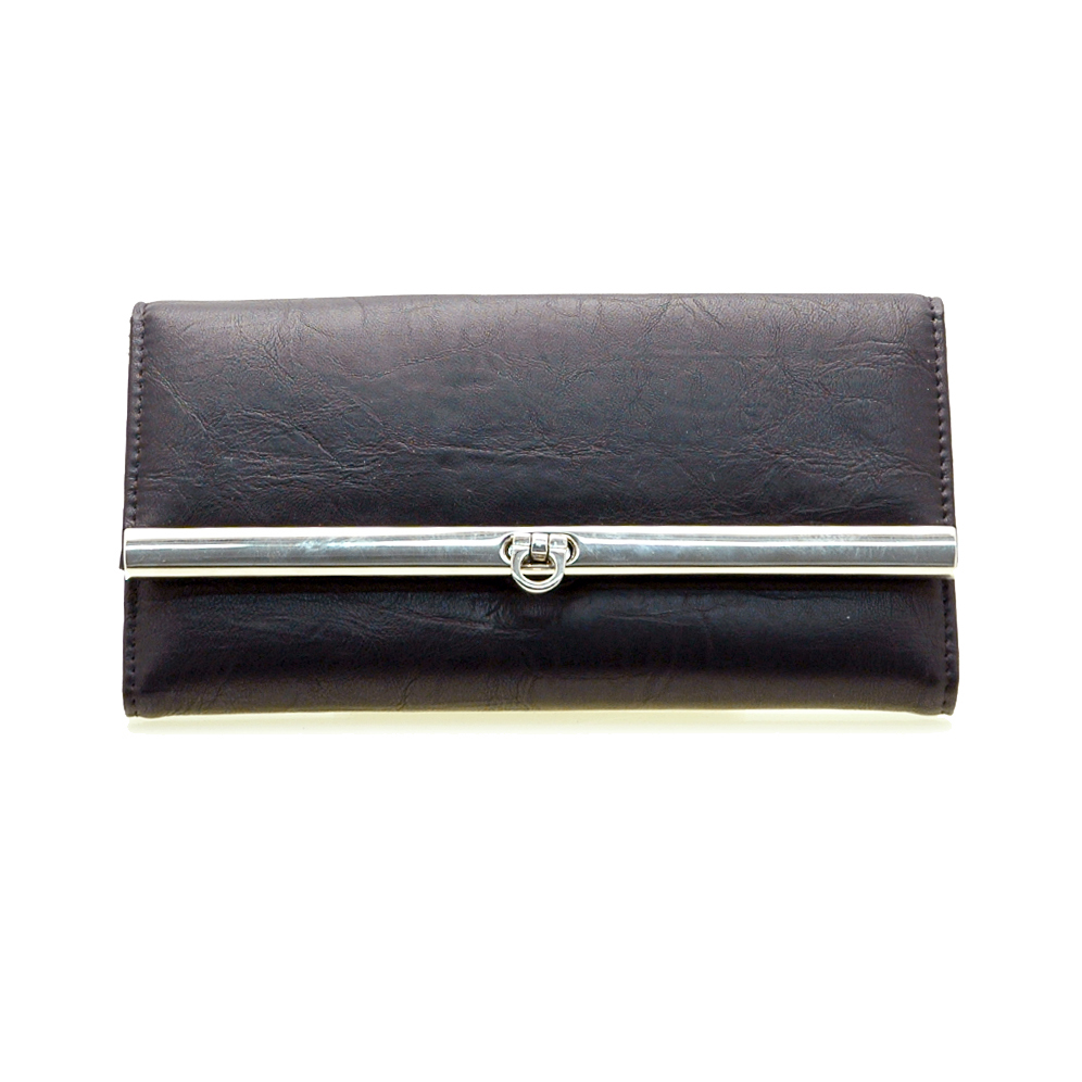 Plain leather like fold over flap with flip clasp checkbook wallet