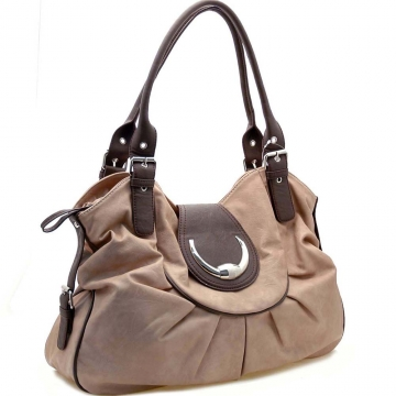 Dasein Designer Inspired Fashion Shoulder Bag with Front Flap and Magnet for Women-Brown