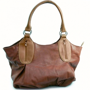 Dasein 2 Tone Designer Inspired Shoulder Bag-Coffee