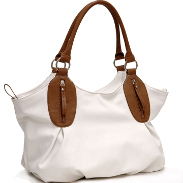 Dasein 2 Tone Designer Inspired Shoulder Bag-White
