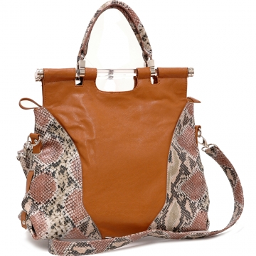 Two-Tone Python Embossed Tall Satchel Bag with Shoulder strap Brown