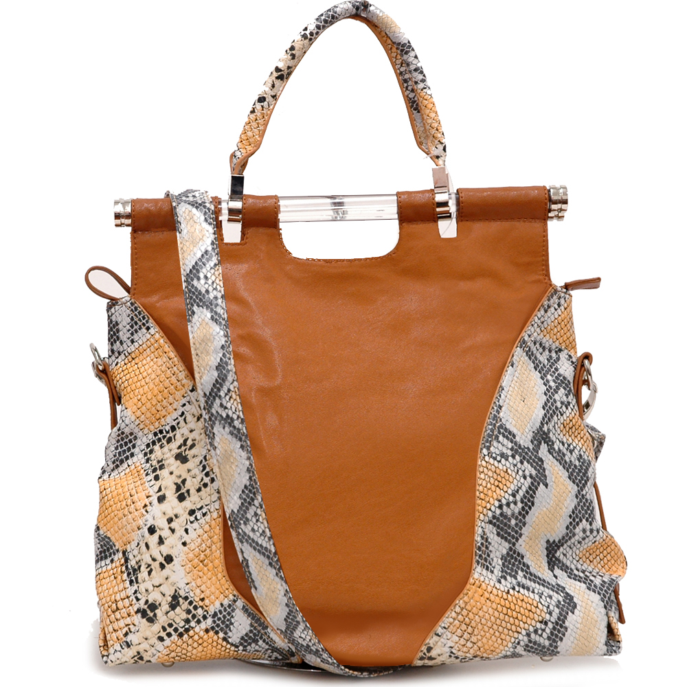 Two-Tone Python Embossed Tall Satchel Bag with Shoulder strap
