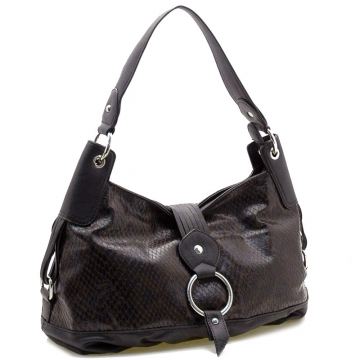 Dasein Two-Tone Python Embossed Flap Over Front Hobo Bag-Black