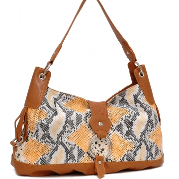 Dasein Two-Tone Python Embossed Flap Over Front Hobo Bag-LT. Python / Brown