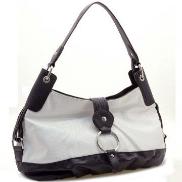 Dasein Two-Tone Python Embossed Flap Over Front Hobo Bag-White