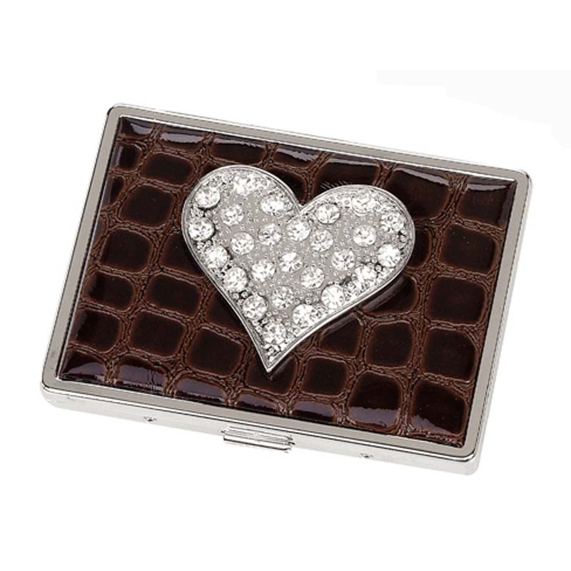 Croco embossed face, Heart sign card case