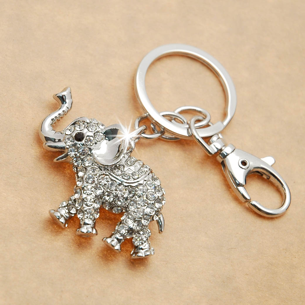 Rhinestone Elephant Key Chain