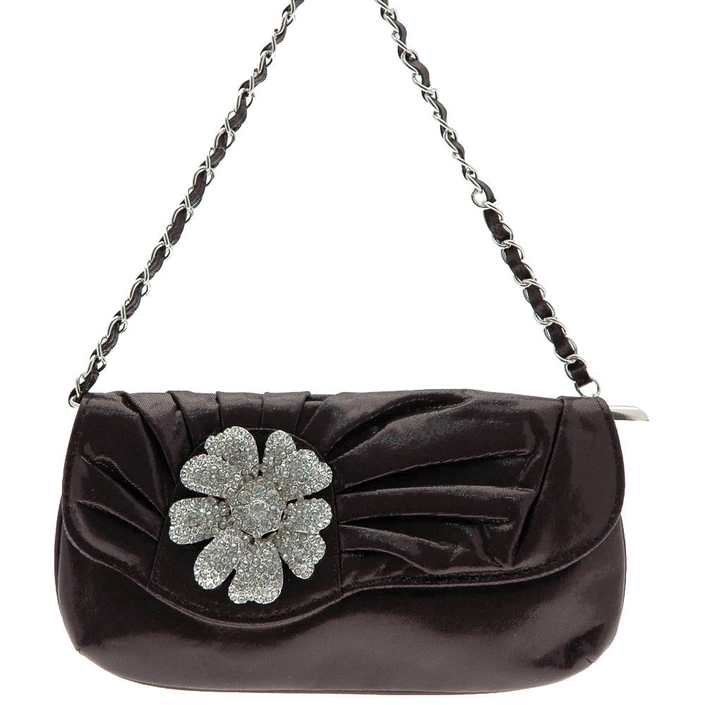 Rhinestone Floral Clutch with Chain Twined Strap