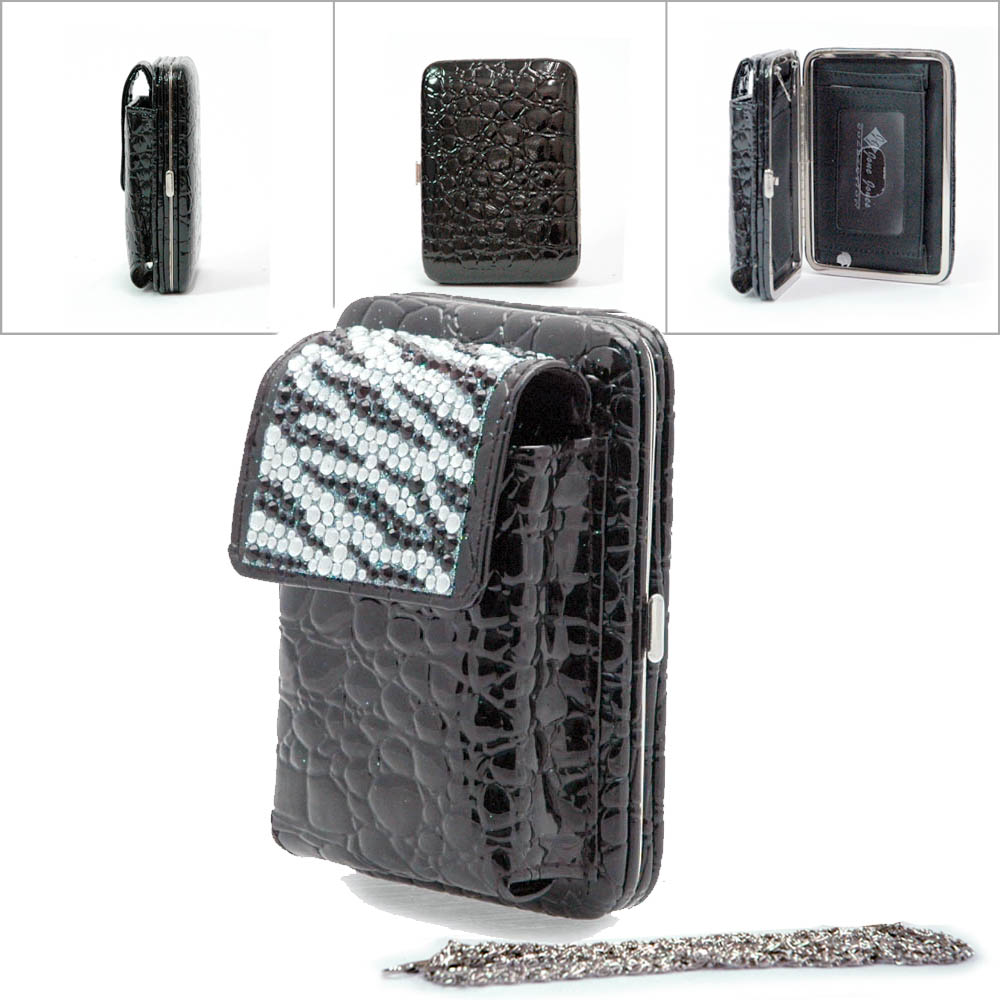 Zebra Rhinestone Cellphone case with frame wallet