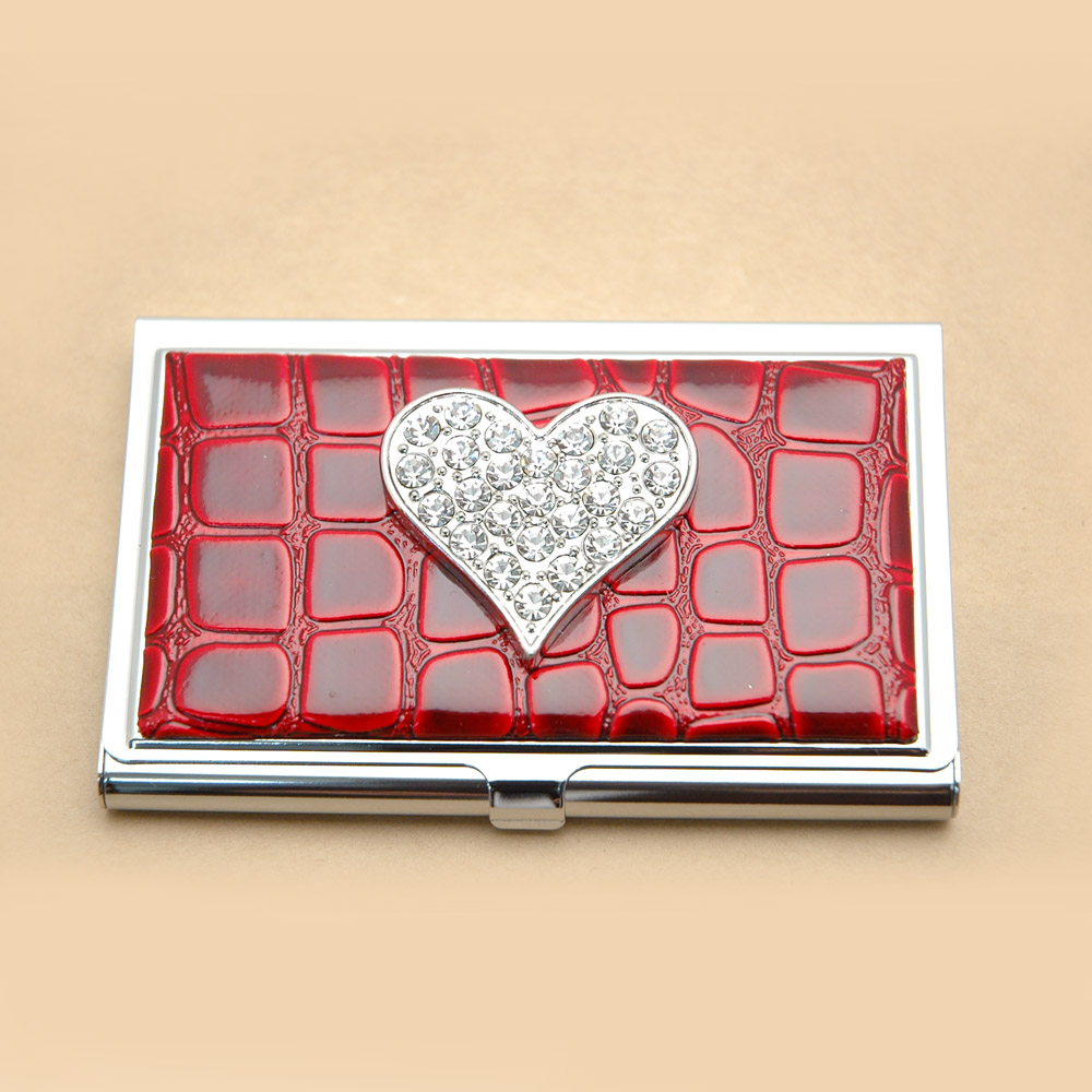 Croco embossed face, Heart with rhinestones card case