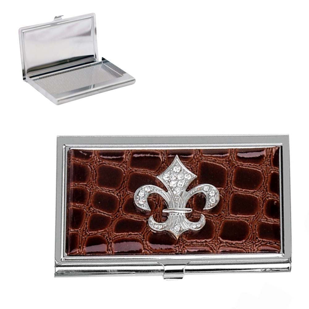 Croco embossed face, Fleur de lis with rhinestones card case