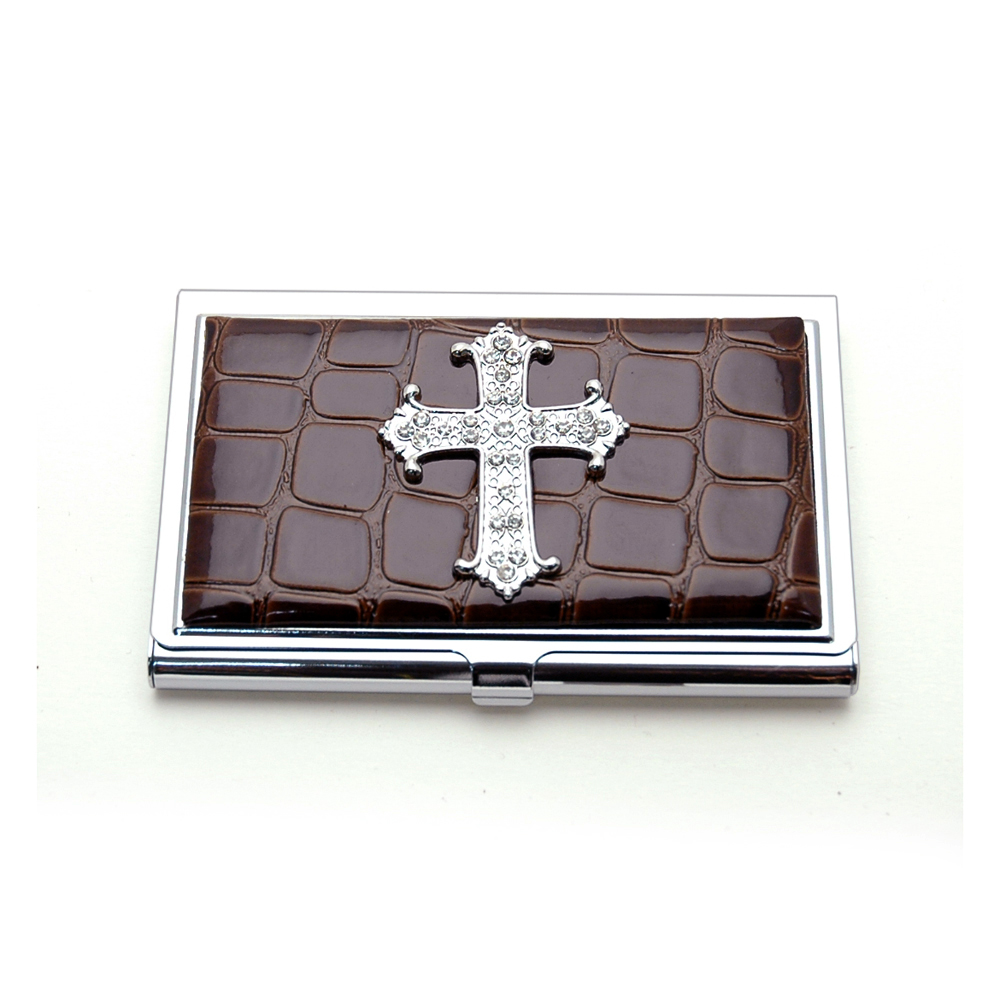 Croco embossed face, Cross with rhinestones card case