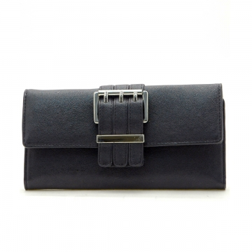 Dasein Plain Leather Like Fold Over Flap with Flip Clasp Checkbook Wallet-Black