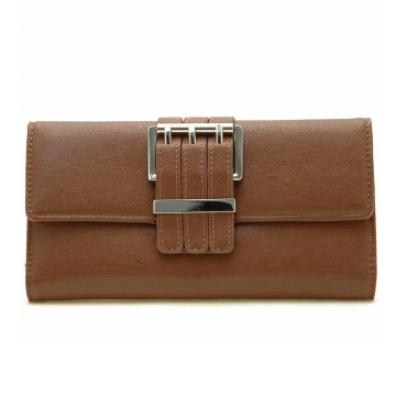 Dasein Plain Leather Like Fold Over Flap with Flip Clasp Checkbook Wallet-Brown