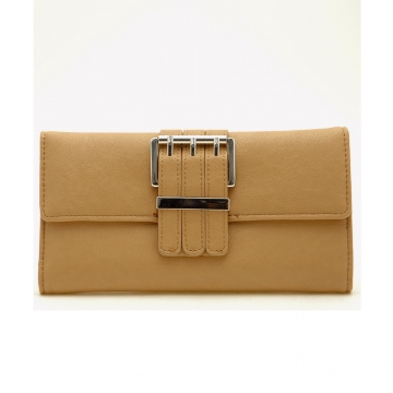 Dasein Plain Leather Like Fold Over Flap with Flip Clasp Checkbook Wallet-Beige