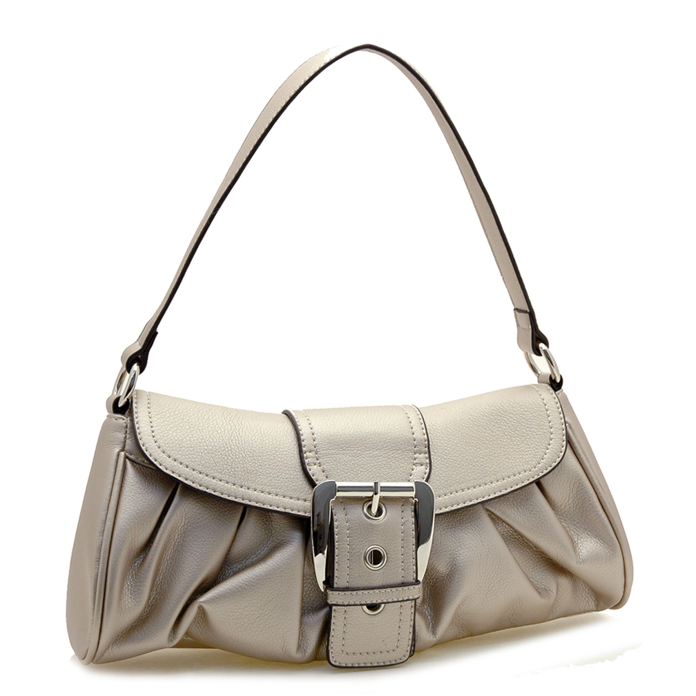 Soft Fashion Buckle Front Shoulder Bag
