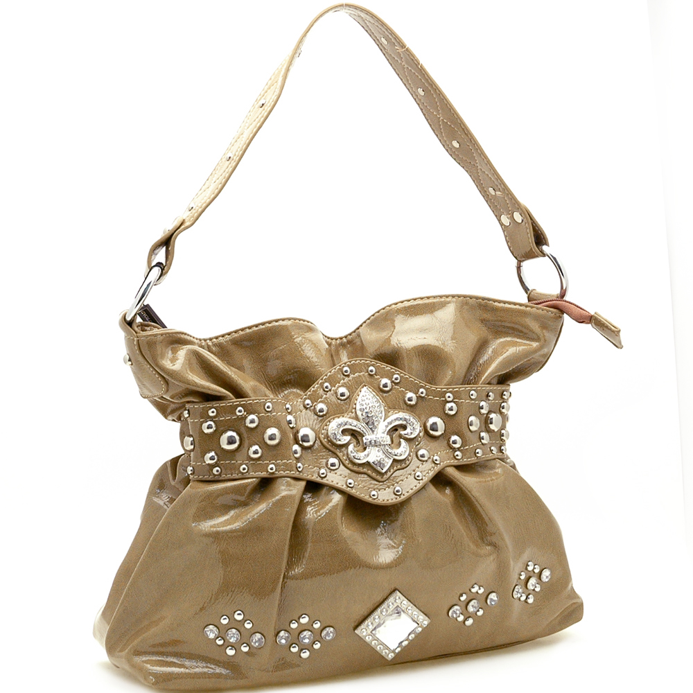 Country Road Fleur De Lis Accent Shiny Shoulder Bag-Brown
