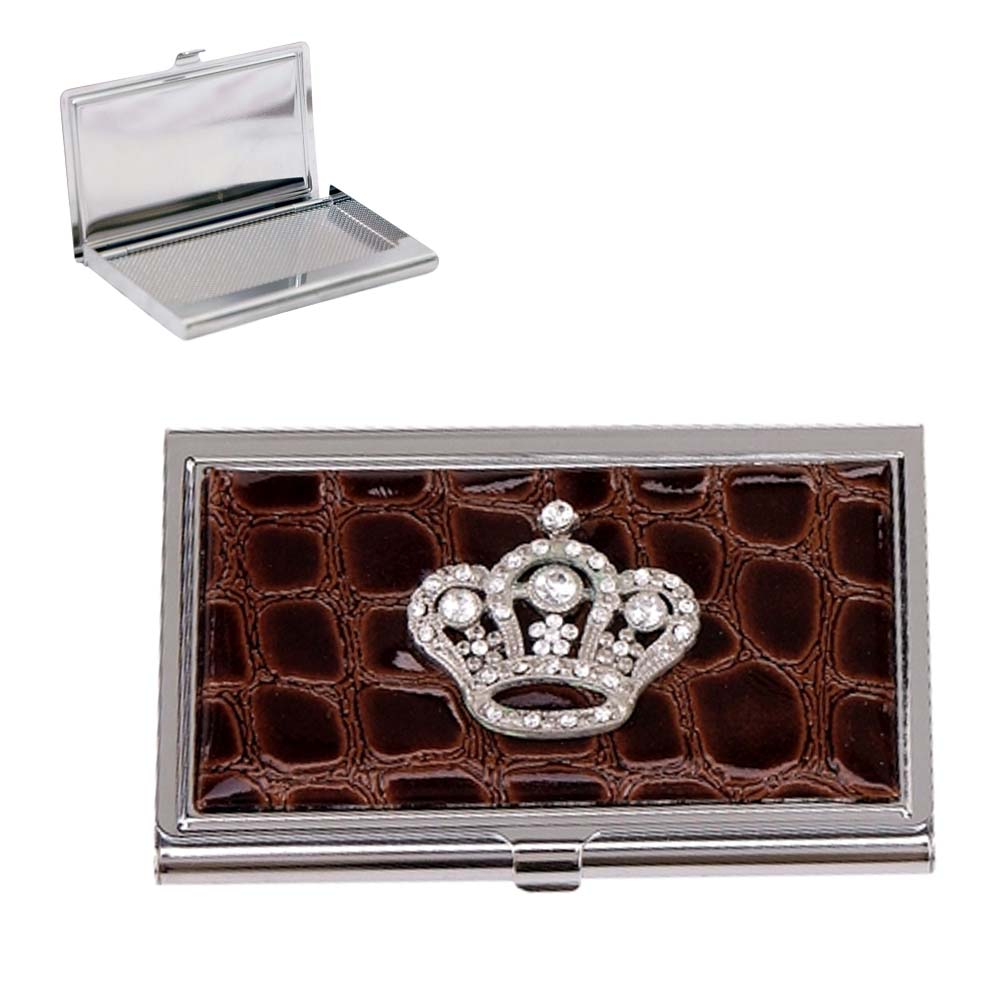Croco Embossed Face Cross with Rhinestones Card Case - Brown