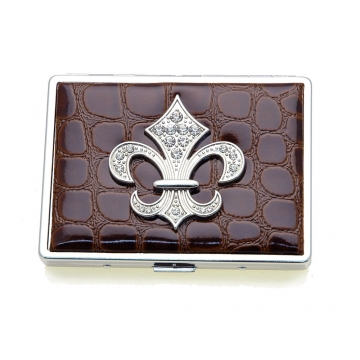 Croco embossed face, Fleur De Lis sign card case
