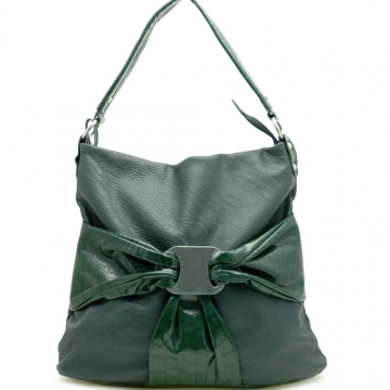Metal buckle accented bow front hobo bag