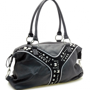 Dasein Designer Inspired Shoulder Bag with Studs-Black
