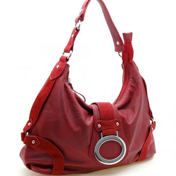 Front flap fashion hobo bag suede trim