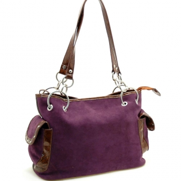 Faux suede shoulder bag with chain accent